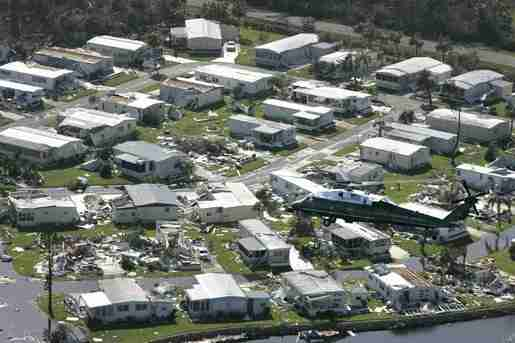 President George W. Bush - Aboard Marine One - Surveys Hurricane damage over Fort Myers FL