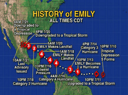 NOTE – the Chart to the left shows the Path or History of Hurricane Emily .. 'click' on the ...